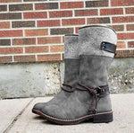 Casual Solid Buckle Chunky Heel Martin Boots