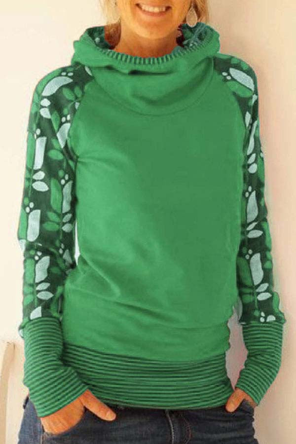 Casual Plus Size Print Hooded Sweatshirts