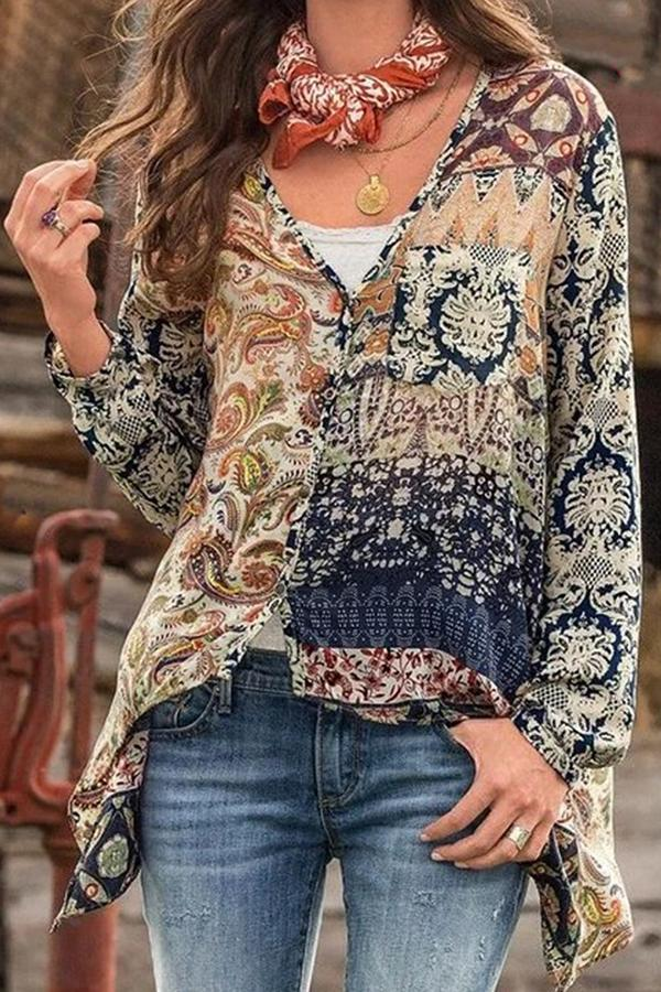 Casual Printed Semi-sheer Buttons Down Blouses