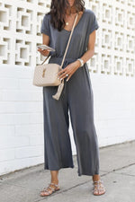V Neck Solid Drawstring Short Sleeves Jumpsuits