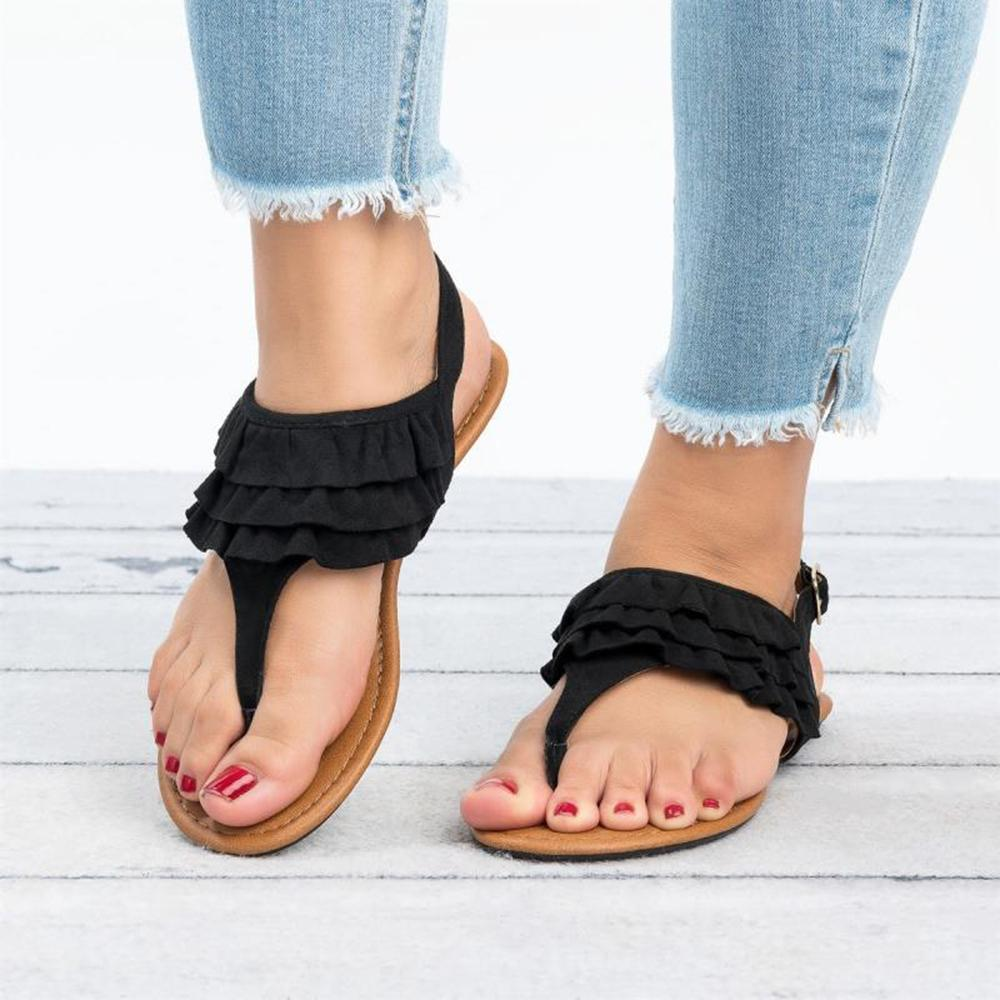 Ruffled Solid Pinch Belt Buckle Sandals
