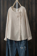 Linen Solid Down Button Crew Neck Blouses