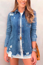 Casual Button Down Ripped Denim Coat