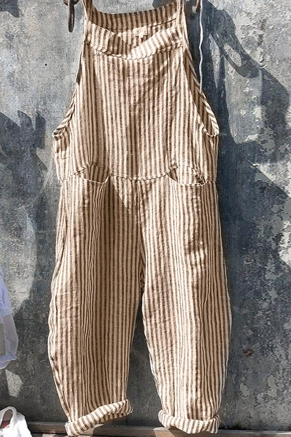 Casual Stripe Pockets Linen Jumpsuit