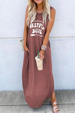 Casual Crew Neck Letter Print Pockets Maxi Dress