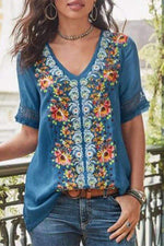 Vintage Embroidery Boho Holiday Top