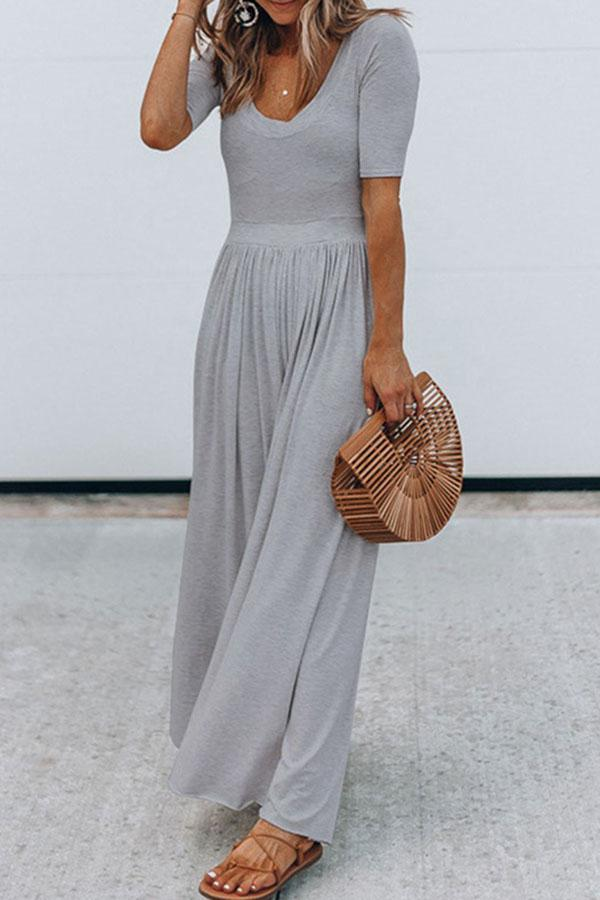 Short Sleeves Paneled Crew Neck Solid Maxi Dress