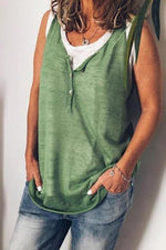 Sleeveless V Neck Solid Buttoned Casual T-shirts