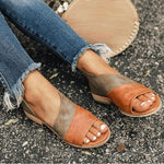 Color-block Open Toe Slip-on Sandals