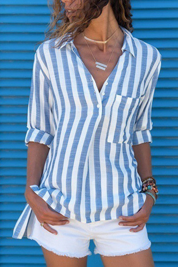 Striped Linen Shirt Collar  Blouses