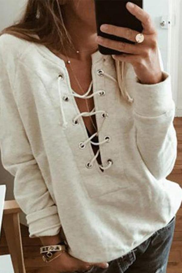 Lace-up Solid Casual Sweatshirts