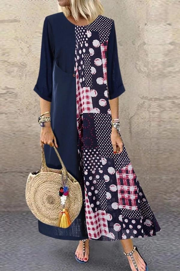 Casual Floral Printed Paneled Crew Neck Maxi Dress