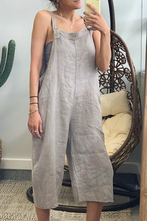 Casual Square Neck Solid Jumpsuits