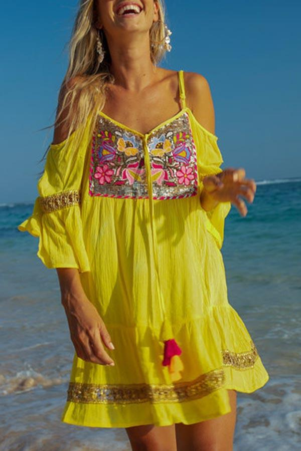 Floral Spaghetti Tassel Cold Shoulder Beach Dress