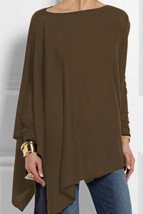 Long Sleeves Irregular Hem T-shirts