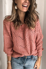 Solid Cutout Crew Neck Casual Loose Sweaters