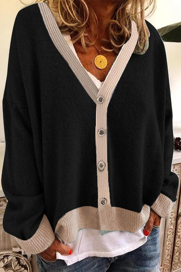 Casual Paneled Solid Button Down Cardigans