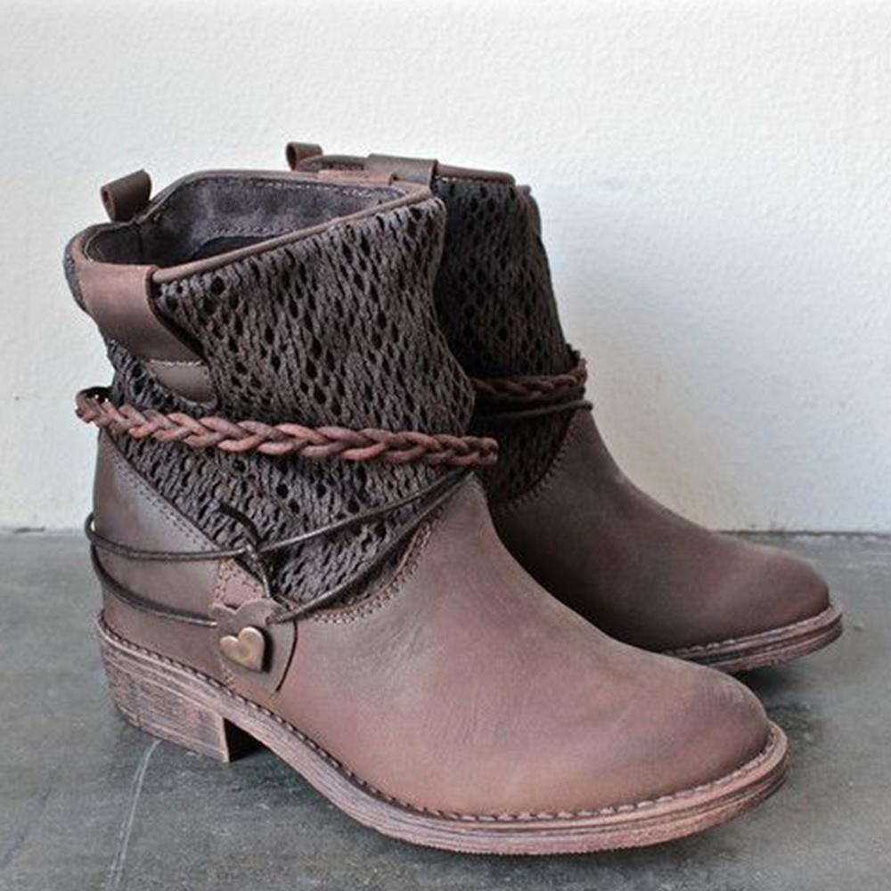 Solid Paneled Mesh Chunky Heel Martin Boots