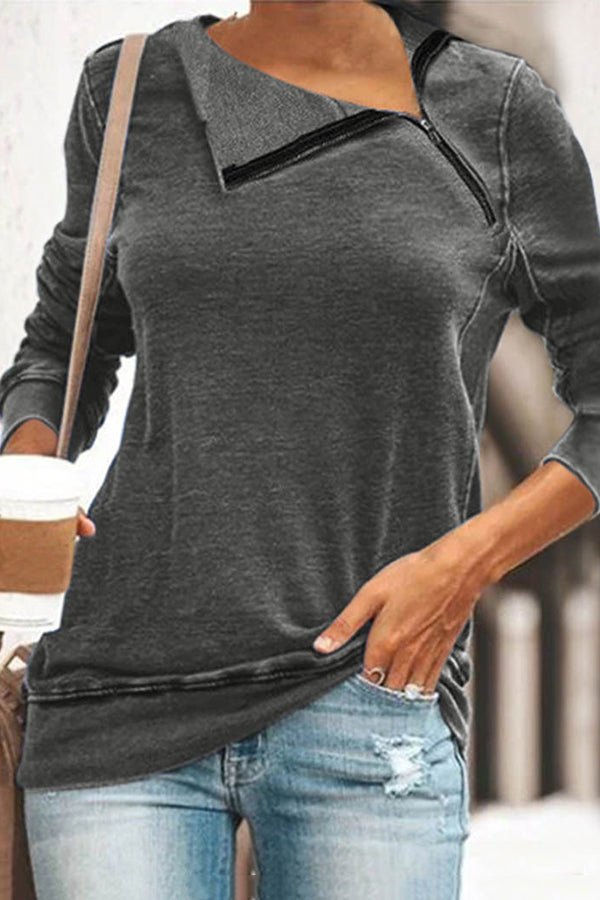 Casual Long Sleeves Solid Half-open Lapel Sweatshirts