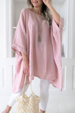 Linen Scoop Neck Irregular Hem Blouse Plus Size
