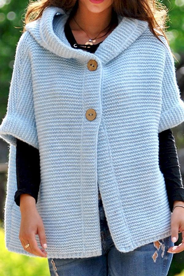 Buttoned Hooded Solid Half Sleeves Cardigans