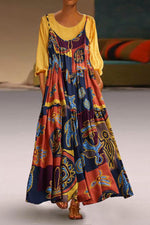 Vintage Printed Side Pockets Two Pieces Maxi Dress