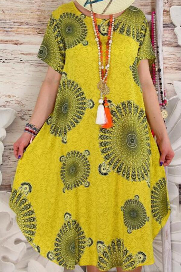 Peacock Flower Print Short Sleeve Loose Midi Dress