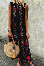 Notch Neck Sleeveless Slit Floral Print Maxi Dress