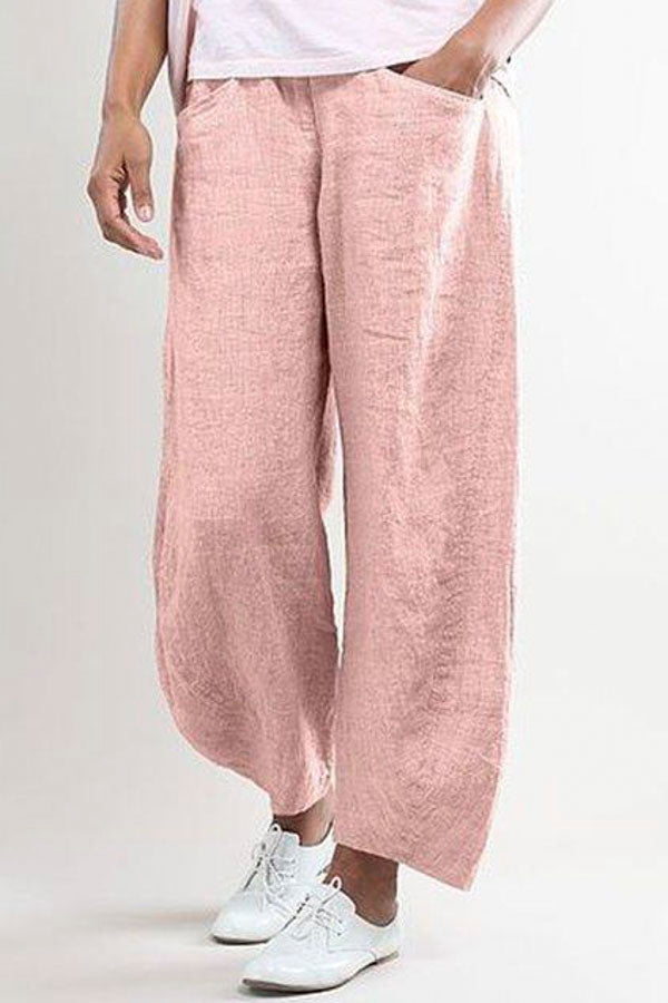 Casual Wide Leg Shift Linen Pockets Solid Pants