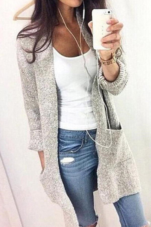 Pockets Solid Knitted Cardigans