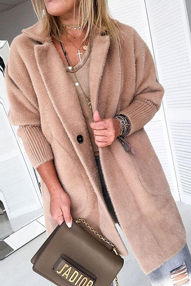 Solid Butttoned Side Pocket Fluffy Long Coat