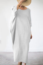 Batwing Crew Neck Linen Maxi Dress