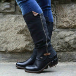 Solid Double Side Zipper Round Toe Long Boots