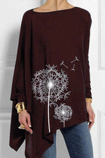 Dandelion Print Asymmetric Long Sleeves T-shirts