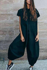Solid Casual Paneled Short Sleeves Harem Jumpsuits