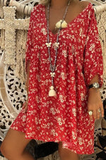 Printed V Neck Boho Mini Dress