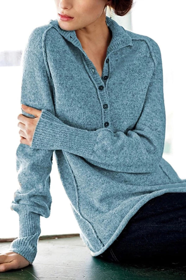 Solid Buttoned Turtleneck Casual Knitted Sweaters