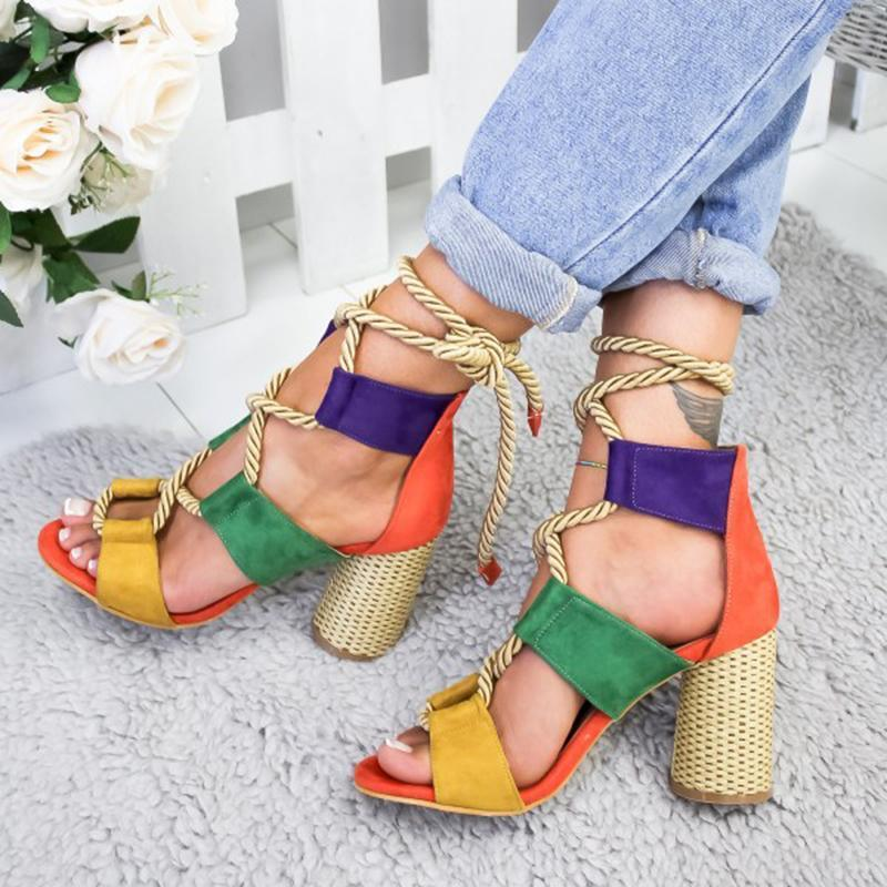 Colorful Lace-up Open Toe High Heels