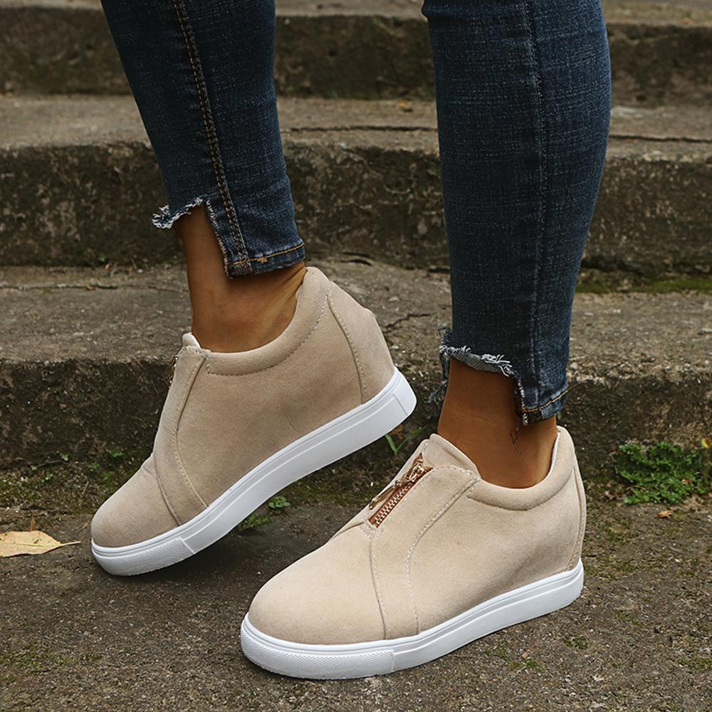 Zipper Flat Round Toe Casual Paneled Sneakers