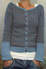 Casual Striped Buttoned Knitted Cardigans