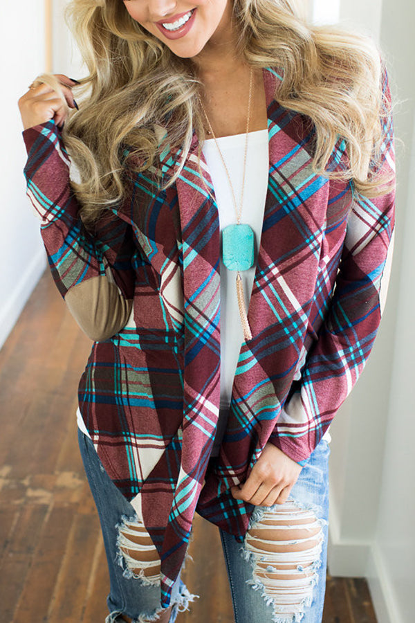 Plaid Printed Knitted Casual Cardigans