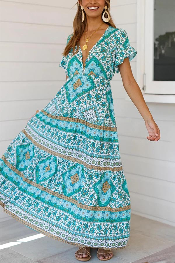 Deep V  Neck Floral Paneled Boho Maxi Dress