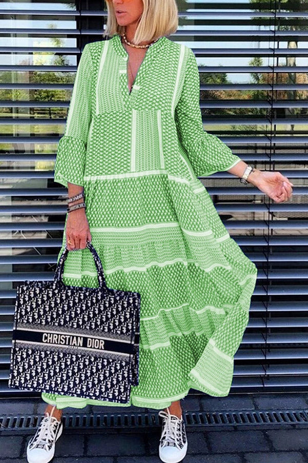 Bohemian Printed Long Sleeves Maxi Dress