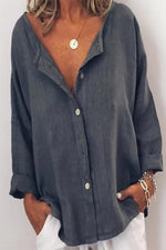 Long Sleeves Button Front Casual Blouse