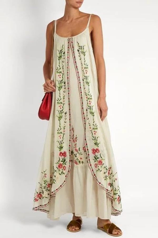 Bohemian Floral Print Paneled Sling Holiday Maxi Dress