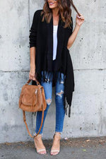Long Sleeves Tassel Solid Cardigans