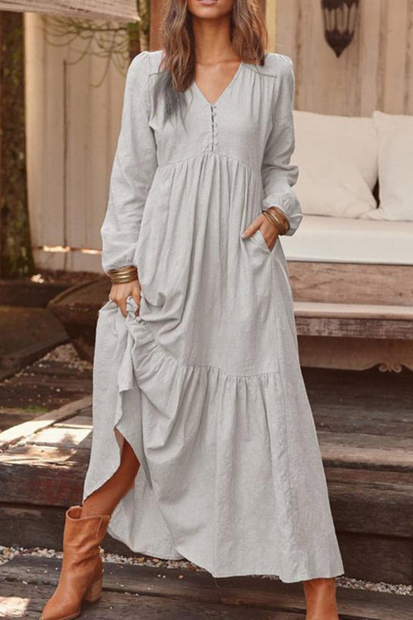 Vintage Long Sleeves Casual Loose Linen Dress