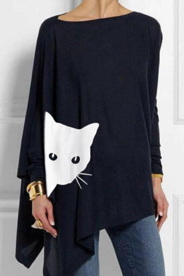 Cat Print Loose Irregular Hem T-shirts