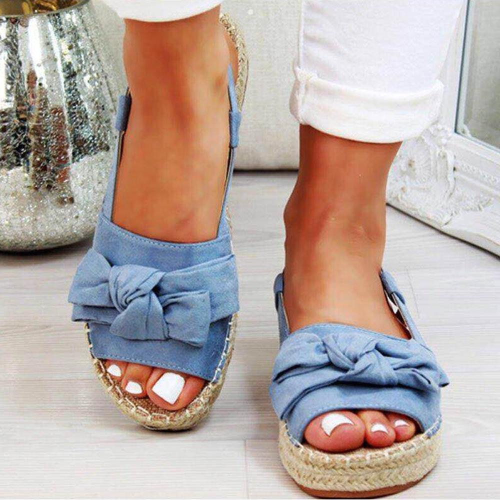 Peep Toe Bowknot Solid Buckle Sandals