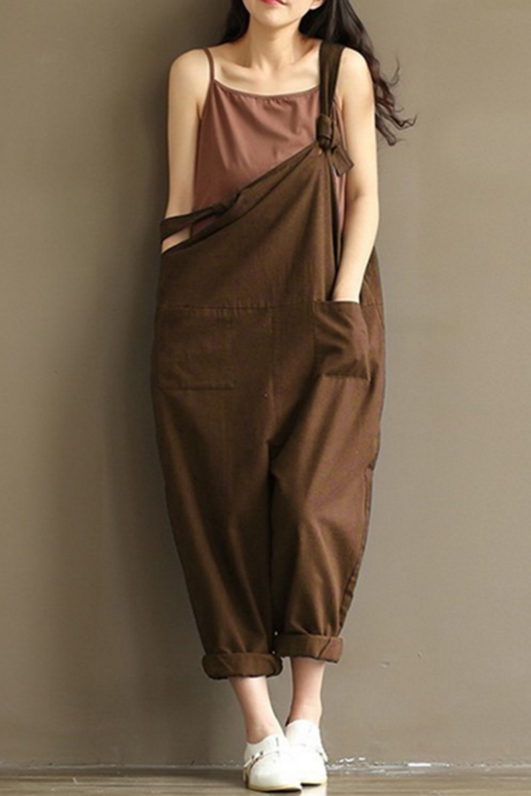 Spaghetti Loose Side Pockets Solid Jumpsuits